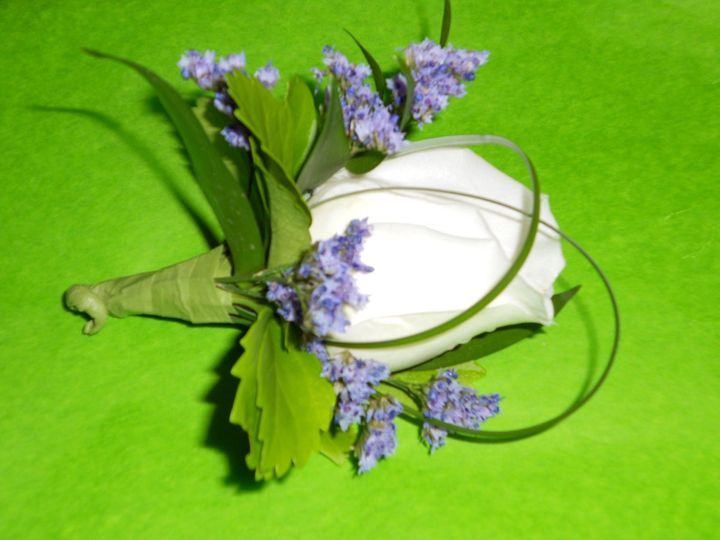 Boutonniere with caspia, bear grass and green.