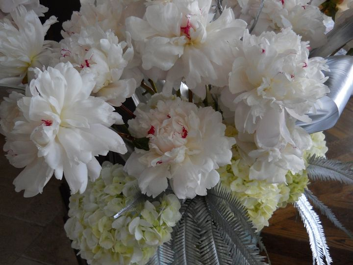 Hydrangea and peonies with silver leaves