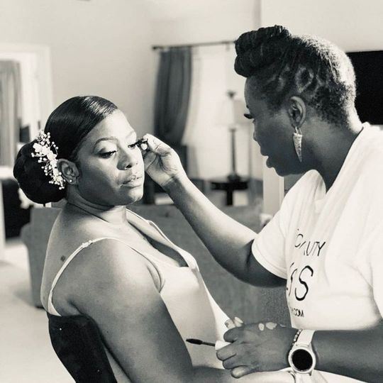 Bride during makeup application