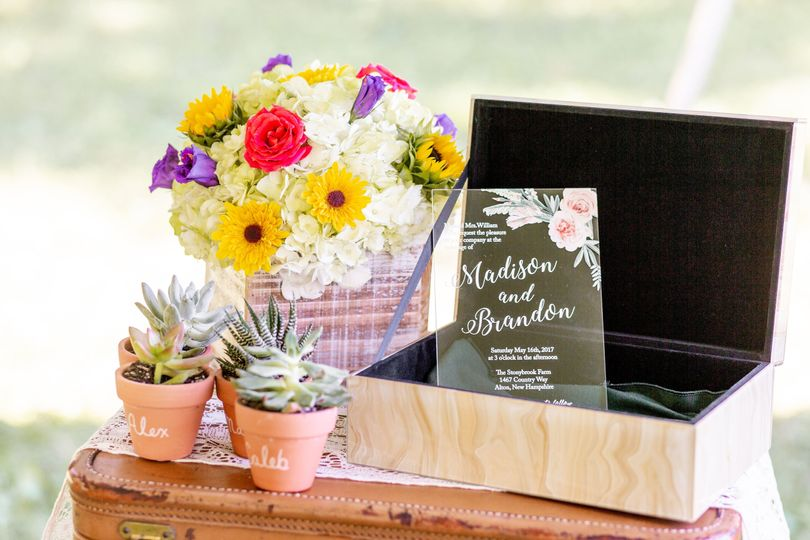 Floral decor and wedding sign