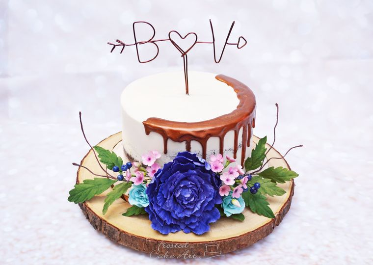 Rustic Cake with Sugar Flowers