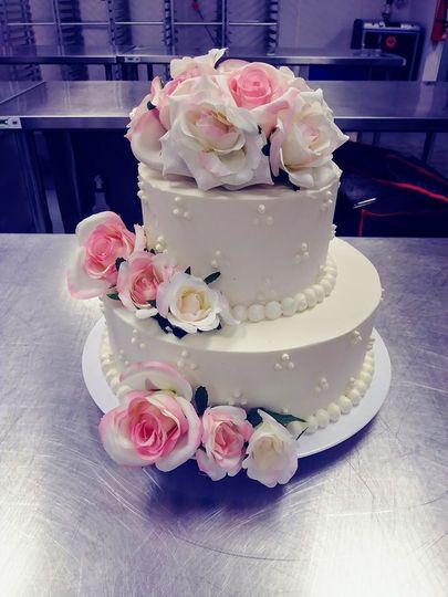 Wedding cake with large flowers