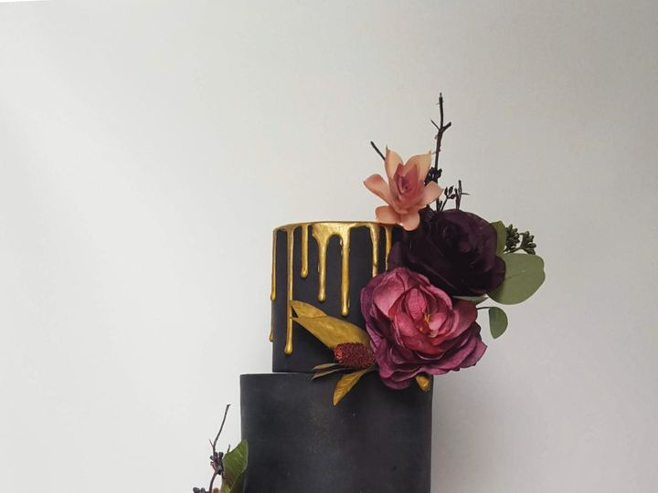 Tmx Black And Gold Wedding Cake With Purple Floral 51 1032521 Billings, Montana wedding cake