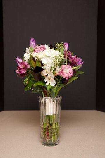 Hand Tied Bridal Bouquet:  Hydrangea, Listianthus, Stock, Tulips, Protea, Alstroemeria Lilies,...