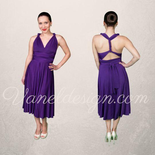 Short Purple Convertible Bridesmaid Dress
