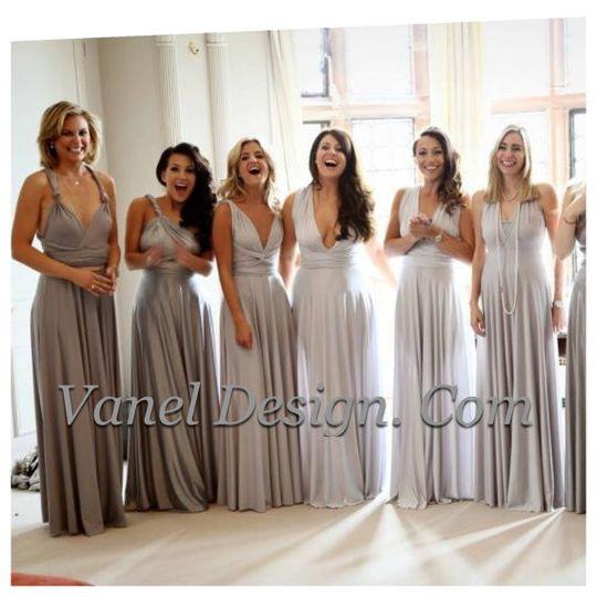 Grey Ombre Convertible Bridesmaid Dresses