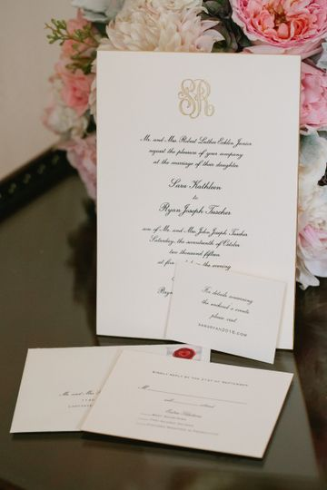 A lovely engraved custom invitation