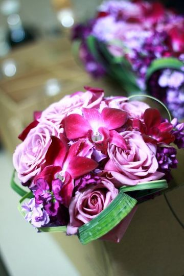 Soft shades of violet and fushia bridge glamour with natural beauty