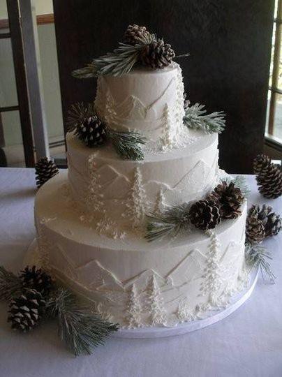Mountain silhouette cake