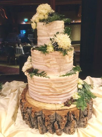 """Ribboned"" Wedding Cake"