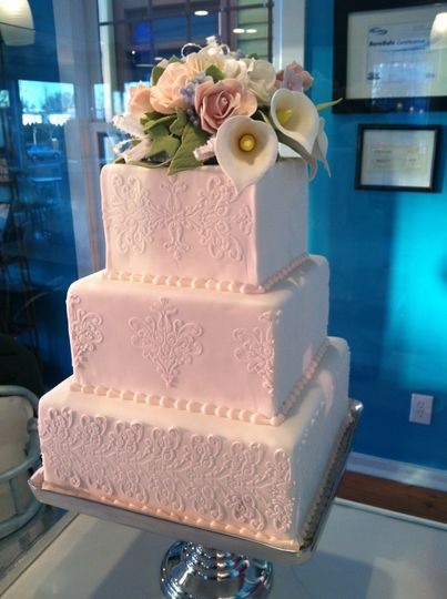 Classic Damask Cake with Sugar Flowers