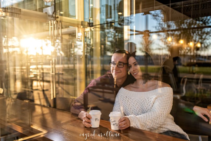 Engagement session coffee shop