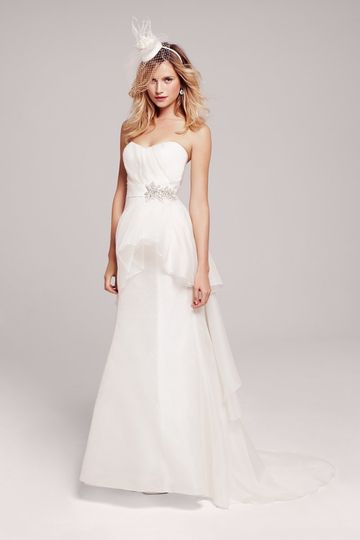 Nouvelle Amsale - Feminine Chiffon Gown with Playful Peplum, Ruched Bodice & Jeweled Belt $2,800