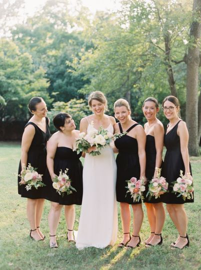 Bridesmaids in black dresses