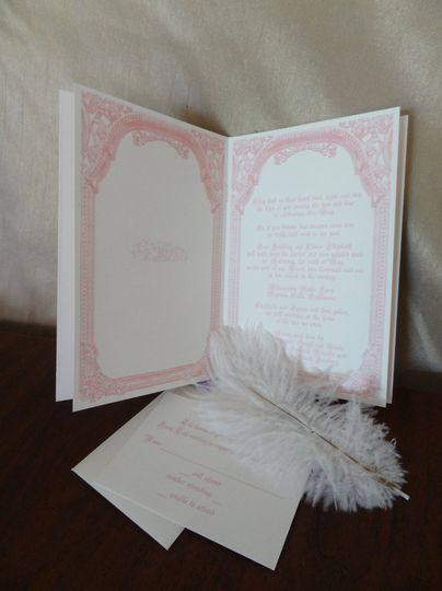Fairy Tale Wedding themed invitation in a booklet format, starting with Once Upon a Time, ending...