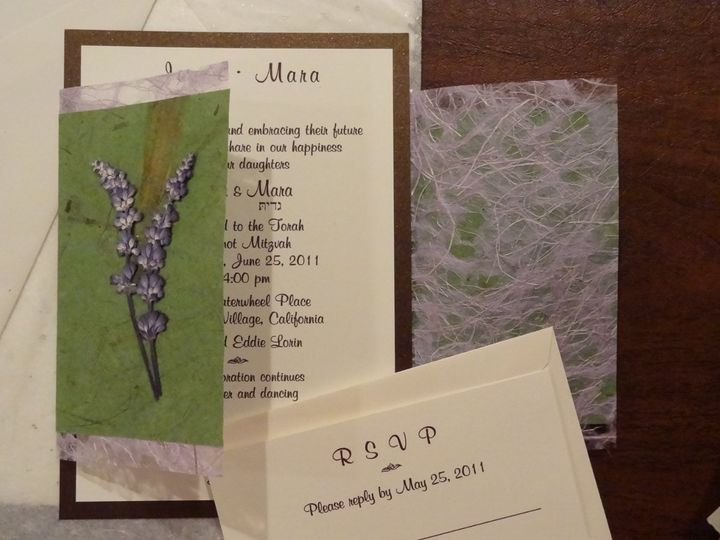 For an outdoor mitzvah for two, we used the garden colors, green, lavender, and dark brown and...