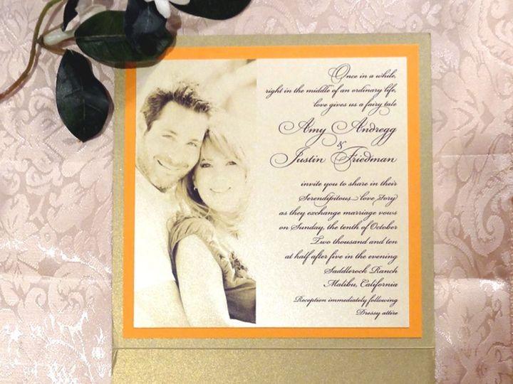 Tmx 1342034734445 Orangebrownpaisleygoldw Westlake Village wedding invitation