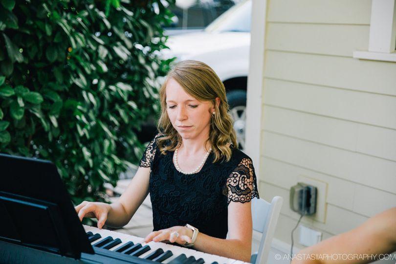 Keyboardist performing