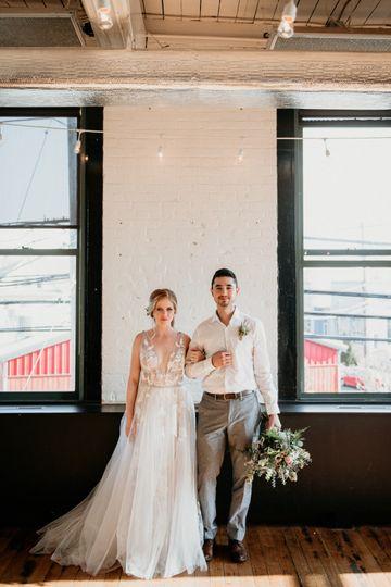 Bride & groom in vault room
