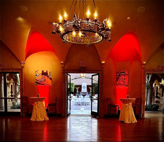 Red Uplighting by entry way