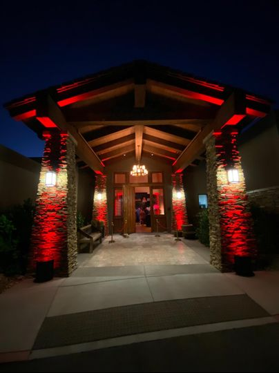 Red Uplighting outside entry