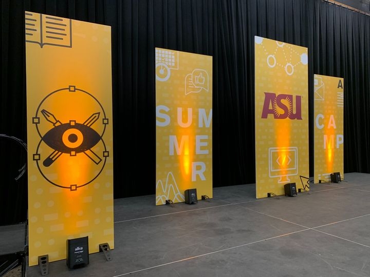 Uplighting banners on stage