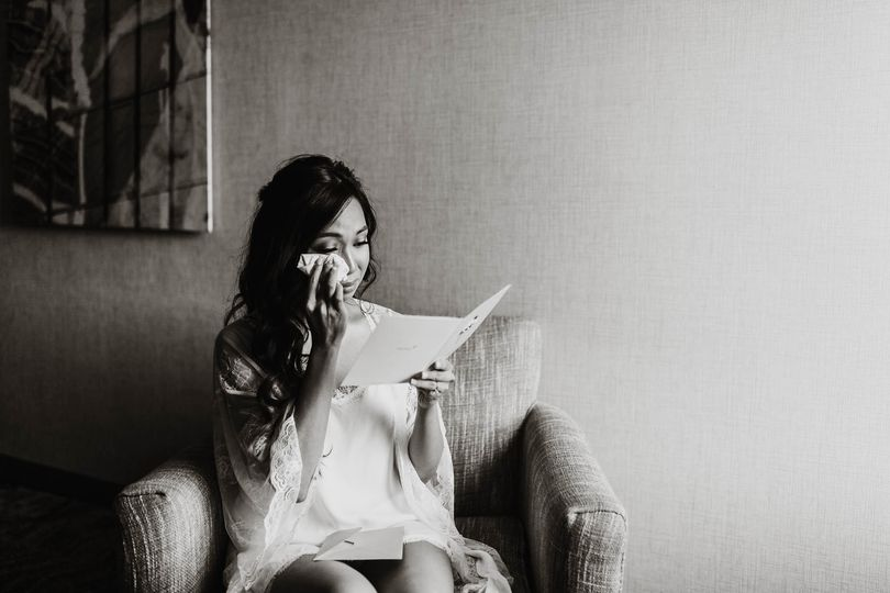 Bride reading Groom's letter