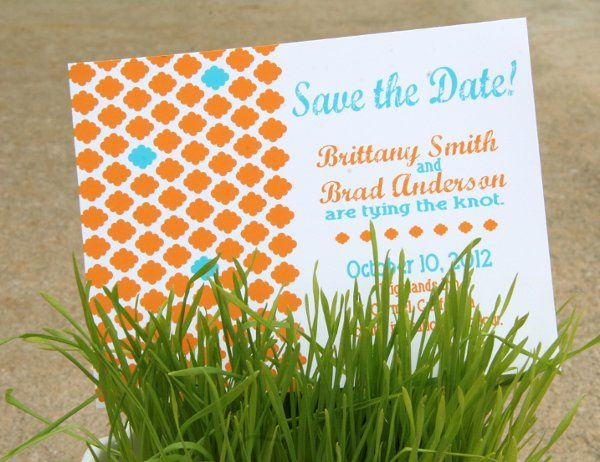 Turquoise & Orange Modern graphic pattern Save the Date.