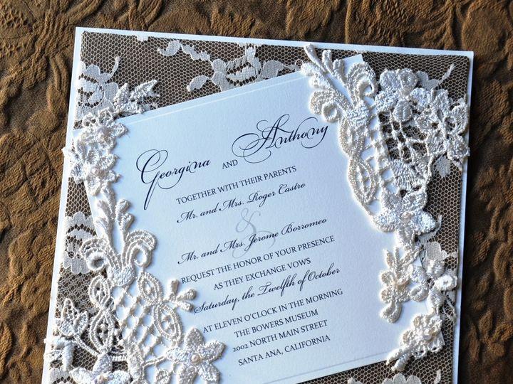 Tmx 1381875560536 Lace Invitation Gold Background Glendale wedding invitation