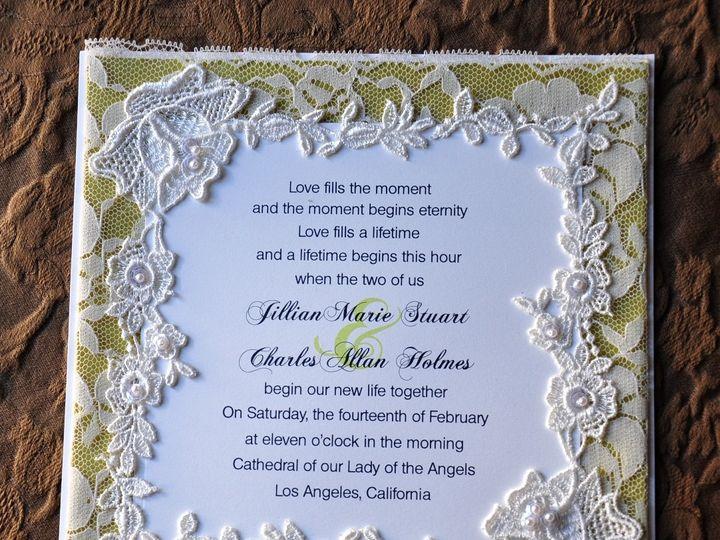 Tmx 1381875569218 Lace With Green Dupioni Silk Glendale wedding invitation