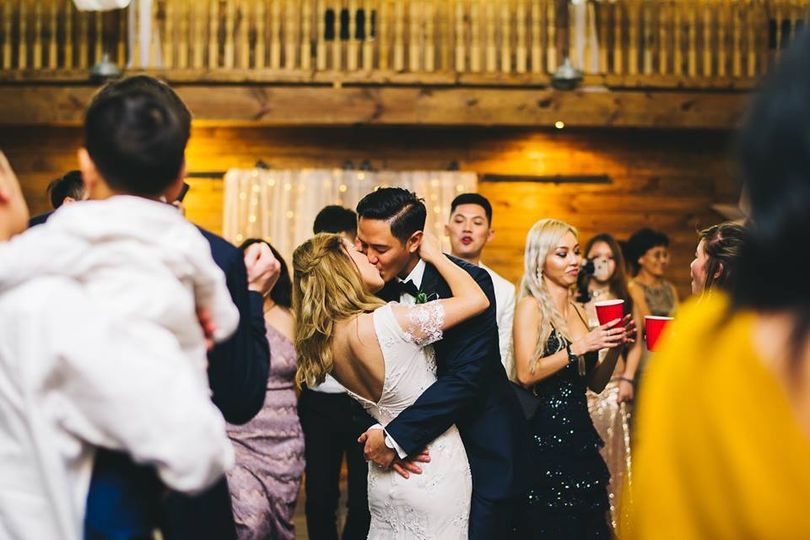 Sharing a kiss on the dance floor