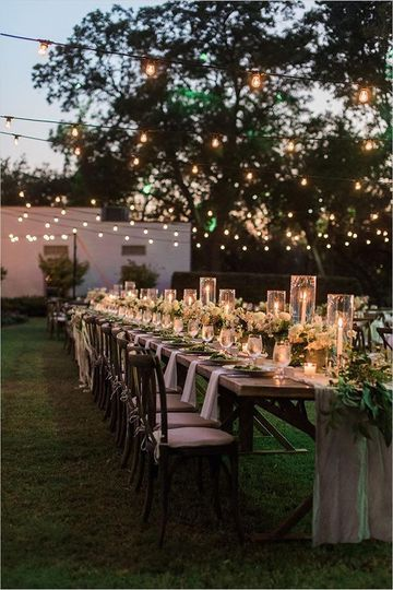 Outdoor candlelight reception