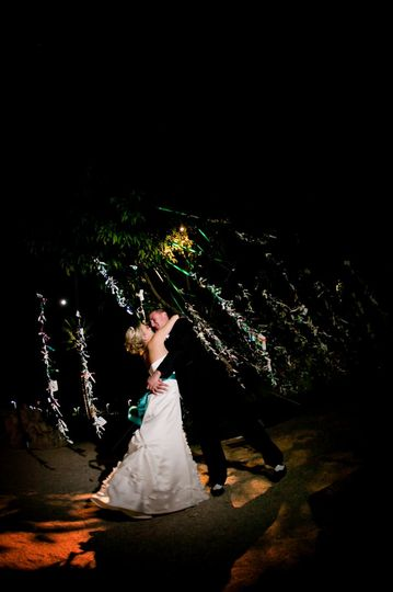 Bride and Groom in front of the Wish Tree in the East Garden