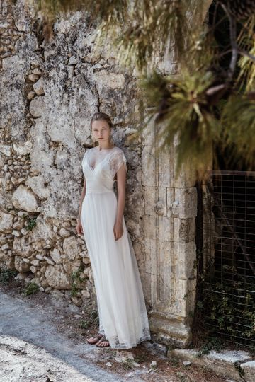 Look 1 Ceto - Cross front delicate chantilly lace & cotton tulle gown
