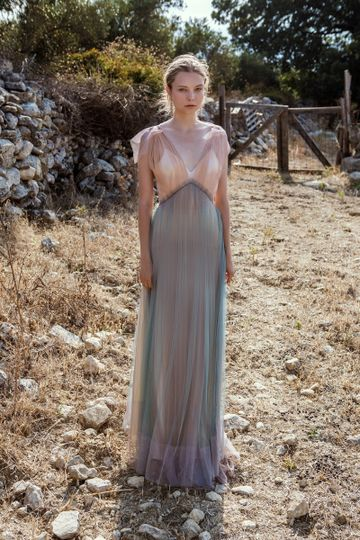 Look 5 Moria - Silk tulle multicoloured layered dress