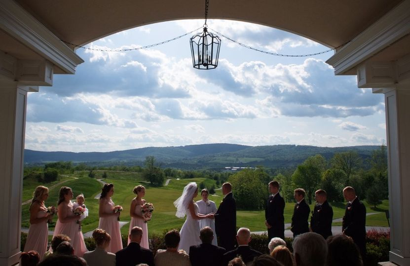 Outdoor ceremony overlooking the Catoctin Mountains.