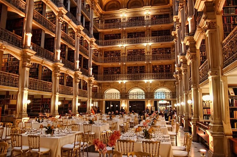 Cocktail hour and wedding reception at the George Peabody Library in Baltimore MD.