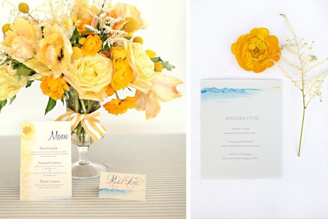 "Menu, Escort Card and Reception Card from the ""Mari-Me-Gold"" Collection  >>See more:..."
