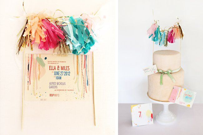 "Invitation from the ""Paint Me a Party, My Dear"" Collection (table sign and save-the-date pictured on..."