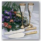 Silver and Gold Sets    The regal gold-plated handles on this knife and server will make your cake...