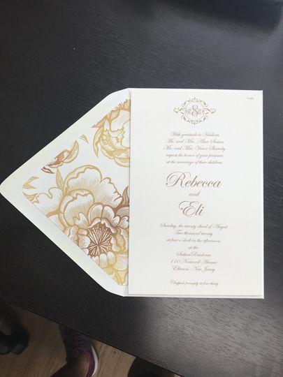 Custom gold floral liner