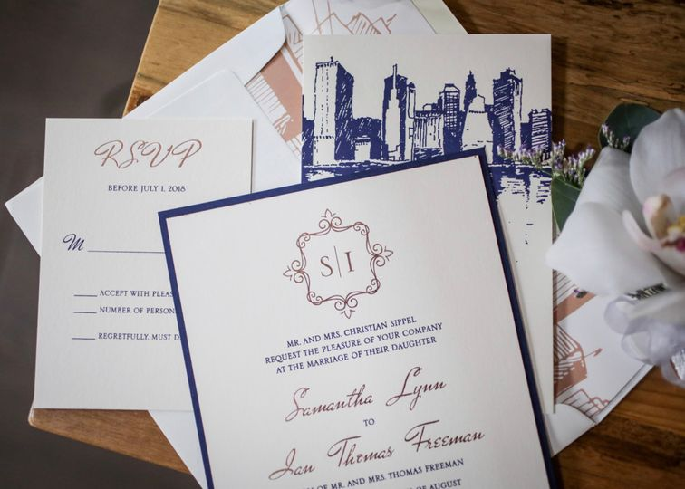Navy and rose gold foil