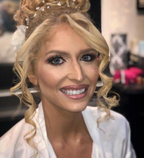 Bride hair and airbrush makeup