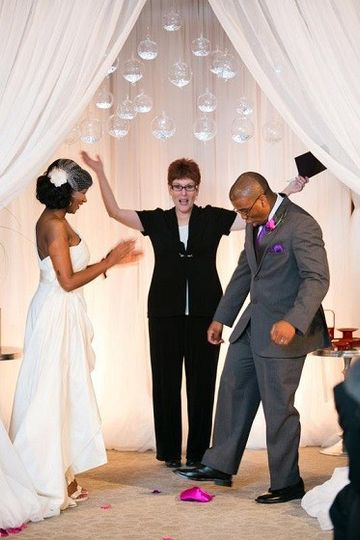 Officiant, bride, and groom