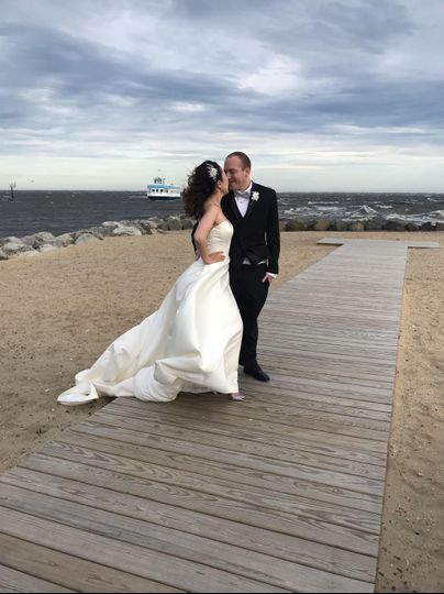 Sea breeze wrapping hot couple
