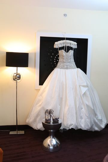 Wedding Dress Hanging in Bridal Suite
