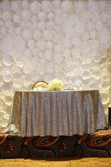 Sweethearts' Table in Front of a Flower Wall