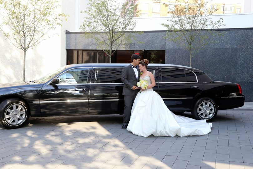 Couple with Limo on the Circular Driveway