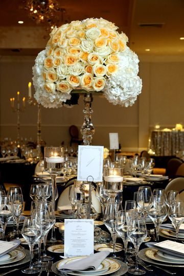 Peach Roses and White Hydrangeas Candelabra Centerpieces