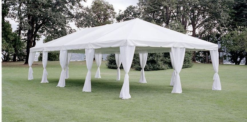 Tent with drapes